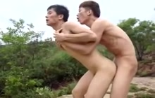 Asian lovers fucking outdoors