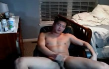 Asian gay dude masturbating on webcam