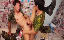 Horny Asian dudes fucking bareback style