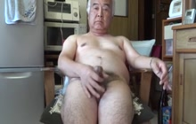 Japanese daddy masturbates at home